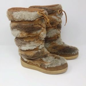 Vtg Snowland Faux Fur Sherpa Lined Mukluk Boots